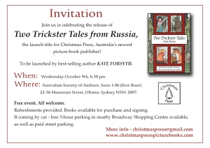 Sydney Launch Two trickster Tales